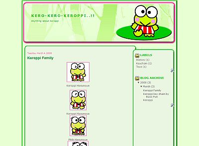 Keroppi Blogger Template | Cartoon Blogger Template | SkinCorner com